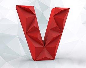 Lowpoly letter V 3D print model
