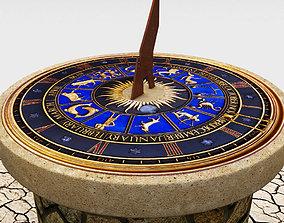 Solar sundial clock time 3D