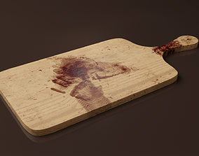 Cutting Board Bloody - Dirty 3D asset realtime