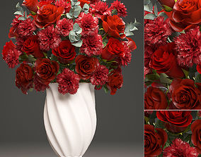 Bouquet of red roses 3D