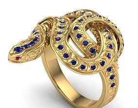 silver Sapphire Snake Ring 3D print model