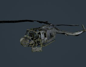 3D model Wrecked Damaged UH1H Military Helicopter Game 2