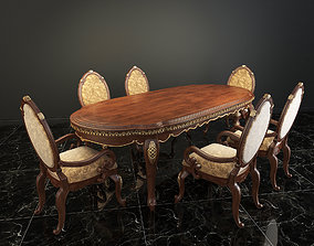 European Carved Dinning Set 3D