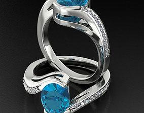 3D print model Bypass Oval Gemstone 9x7 Ring