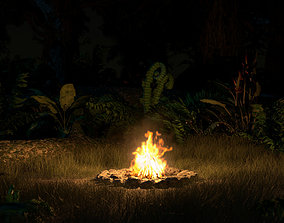 animated VR / AR ready Campfire Volumetric Loop and 3D