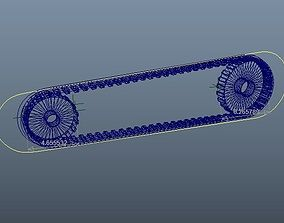 3D asset Driving principle animation of pulley gear