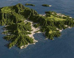 Green island in Blender 3D
