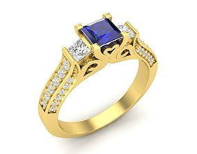 Princess and round Diamond jewelry 3D print model