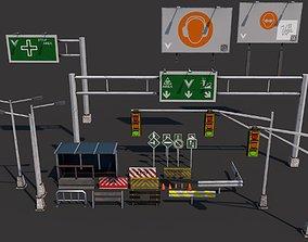 3D model Pack of 33 realistic road props PBR texture
