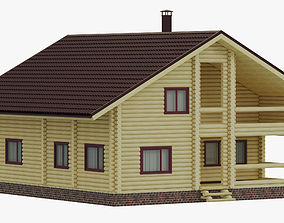 3D wooden house forest