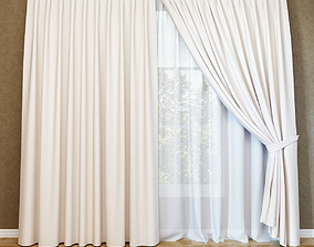 Modern curtain and tulle curtains 3D