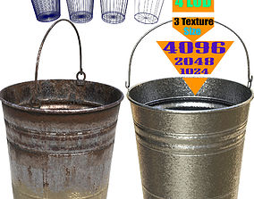 3D asset metal bucket rusty - PBR Game-Ready
