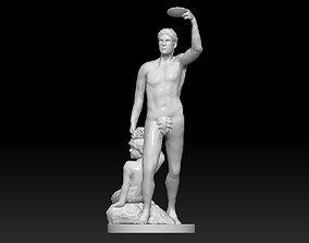 Bacchus and Satyr fountain statue Monplaisir 3D model 1