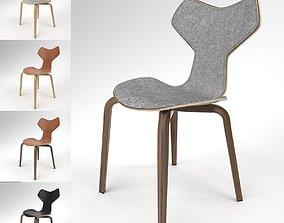 Fritzhansen Grand Prix wooden upholstery Chair 3D model 1