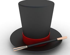 3D tophat Magician Hat And Wand