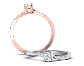 Bypass Heart style Solitaire Ring Own 3D print model