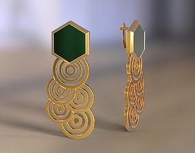 Earrings hexagon gem and circles 3D print model