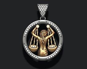 Horoscope Libra pendant with gems 3D print model