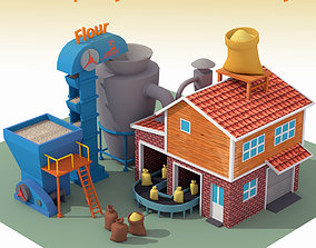 Lowpoly Flour Factory for game 3D model