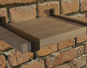 3D asset realtime Contemporary Rustic Floating Shelf