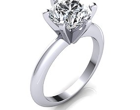 Vintage Solitaire Ring 3d Model Print platinum