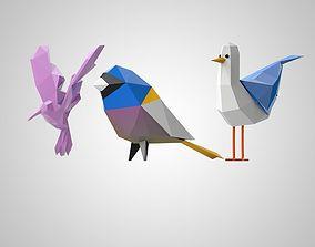 set birds 3D asset