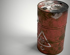 3D model Abandoned Oil Drum rusted PBR Game ready