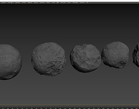 Detailed round asteroids high-poly set 3D model