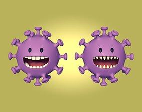3D asset Cartoon Virus Character