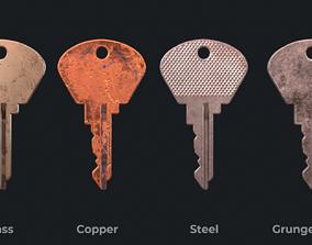 3D model VR / AR ready Metal key for the door