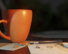 3D model Teacup and cigarette scene