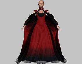 3D asset Victorian Gothic Dress 5