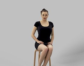 3D model Dominica Smart Casual Sitting Woman Observing