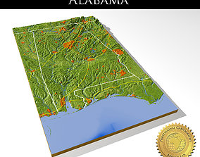 Alabama 3 High resolution 3D relief maps alabama