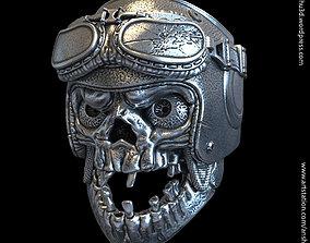 biker helmet skull vol1 ring for 3d print