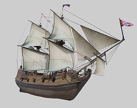 Ship of Vitus Bering St Peter 3D asset