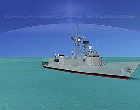 3D model FFG-7 USS Oliver Hazard Perry Frigate