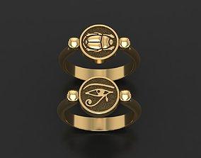 Wadjet Eye of Horus and scarab ring 3D print model