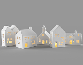 White ceramic houses 3D
