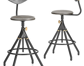 District Eight-akron Counter Stool With Backrest 3D model