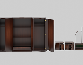 3D model Old Vintage Wardrobe and furniture-wall from