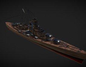 3D asset Bismark battleship
