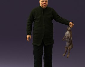 Man in green sweater and rabbit 0561 3D print model