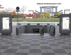 3D asset Metro Subway entrance exit unit