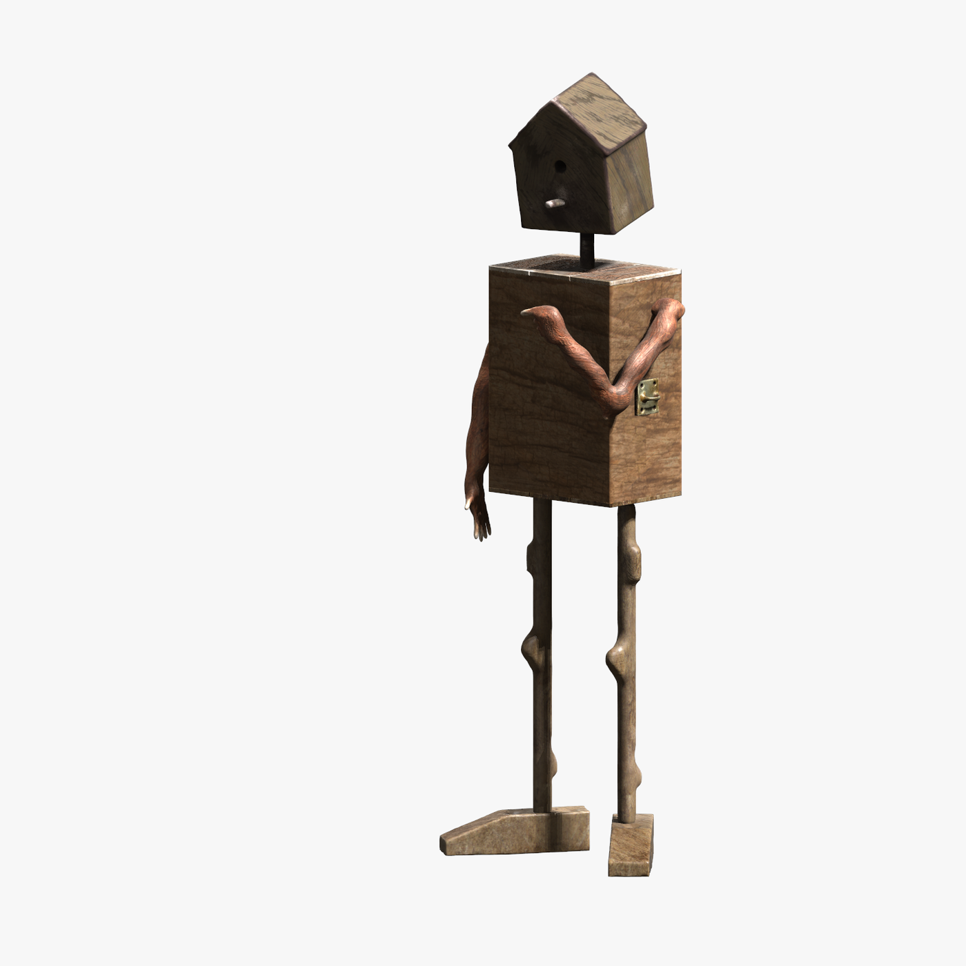 Lowpoly wooden man bird cage