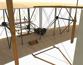 historic 3D model low-poly Wright flyer
