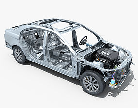 3D model Car Frame with Chassis Engine 01