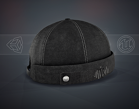 3D model VR / AR ready Full Black Jeans Brimless Cap