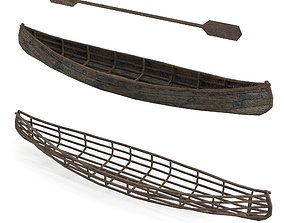 game-ready Old Wooden canoe Low-poly 3D model Low-poly 3D