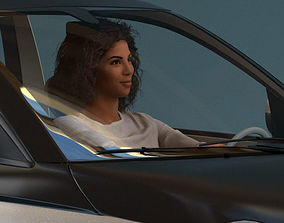 South American Woman driving a car 3D model